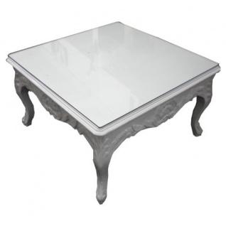 Casa Padrino Barock Beistelltisch Weiß 80 x 80 cm - Couchtisch - Wohnzimmer Tisch - Vorschau 3