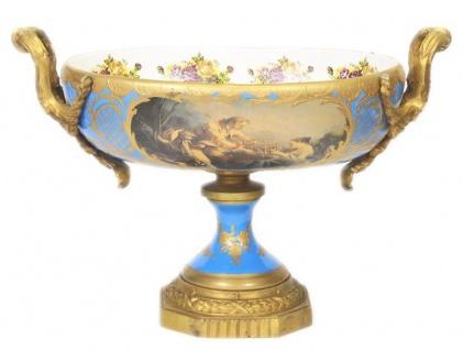 Casa Padrino Barock Porzellan Schale Hellblau / Gold B40 H37 cm - Grand Decor - Hotel Dekoration