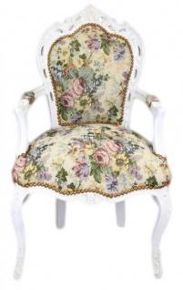 Casa Padrino Barock Esszimmer Stuhl mit Armlehnen Blumenmuster / Antik Weiß