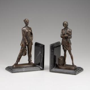 Casa Padrino Luxus Bücherstützen Ladies aus Bronze auf Marmorsockel - Bücherstütze - Book End