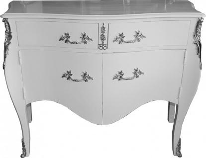 Casa Padrino Barock Kommode Weiß mit 2 Schubladen und 2 Türen 140 cm - Handgefertigt aus Massivholz- Limited Edition