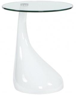 Casa Padrino Beistelltisch Weiß Ø 45 x H. 54 cm - Moderner Fiberglas Tisch mit runder Glasplatte - Designermöbel