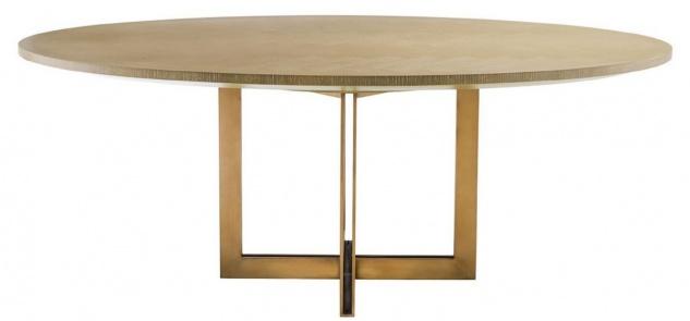 Casa Padrino Luxus Esstisch Naturfarben / Messing 200 x 120 x H. 76 cm - Ovaler Küchentisch - Luxus Esszimmer Möbel - Vorschau 2
