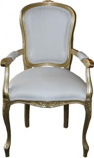 Casa Padrino Barock Esszimmer Stuhl mit Armlehnen Weiss / Gold - Designer Stuhl - Luxus Qualität