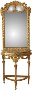 Casa Padrino Barock Spiegelkonsole in Gold mit Marmorplatte Mod4 - Antik Look