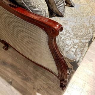 Casa Padrino Luxus Barock Sofa Silber / Beige / Dunkelbraun - Prunkvolles Wohnzimmer Sofa mit elegantem Muster - Barock Möbel - Vorschau 5