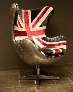 Casa Padrino Art Deco Egg Chair Drehstuhl Sessel Aluminium / Union Jack - Club Sessel - Lounge Sessel - Vintage Airplane Möbel