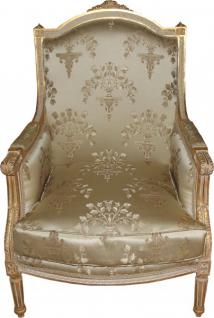 Casa Padrino Barock Lounge Thron Sessel Empire Taupe Muster / Gold - Ohren Sessel - Ohrensessel Tron Stuhl - Limited Edition