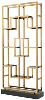 Casa Padrino Luxus Regalschrank Messing / Schwarz 108 x 29 x H. 240 cm - Edelstahl Wohnzimmerschrank mit 10 Glasregalen - Luxus Wohnzimmer Möbel