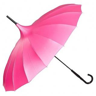 MySchirm Designer Regenschirm Pagode in Himbeer/Pink Model Paris - Jugendstil Design - Eleganter Stockschirm