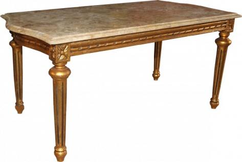Casa Padrino Barock Couchtisch Gold mit cremefarbener Marmorplatte 100 x 53 cm - Limited Edition