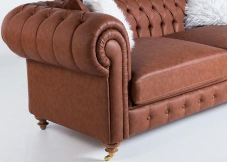 Casa Padrino Luxus Chesterfield Sofa Braun 240 x 100 x H. 78 cm - Edles Wohnzimmer Sofa - Chesterfield Möbel - Vorschau 2