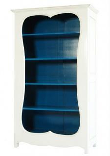 Casa Padrino Barock Bücherschrank Weiss / Blau B 110 x H 185 cm Bücherregal Regal Schrank