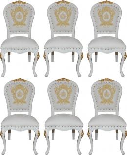 Pompöös by Casa Padrino Luxus Barock Esszimmerstühle mit Krone Weiß / Gold - Pompööse Barock Stühle designed by Harald Glööckler - 6 Esszimmerstühle - Barock Esszimmermöbel