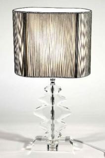 Elegante Kristall Hockerleuchte mit silbernem ovalen Schirm Leuchte Lampe