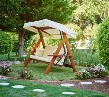 Casa Padrino Luxus Hollywood Schaukel Cremefarben / Braun - Moderne Wetterfeste Garten Schaukel mit Sonnendach - Garten Terrassen Hotel Möbel - Luxus Möbel - Vorschau 4