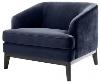 Casa Padrino Luxus Sessel Mitternachtsblau / Schwarz 85 x 90 x H. 75 cm - Wohnzimmer Sessel
