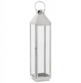 Casa Padrino Designer Laterne Aluminium Silber / Glas 90 x 20 x19 cm - Kerzenleuchter Vintage Stil