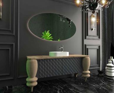 Casa Padrino Luxus Badezimmer Set Naturfarben / Grau / Weiß - 1 Waschtisch mit 2 Türen und 1 Waschbecken und 1 LED Wandspiegel - Luxus Badezimmermöbel - Vorschau 2
