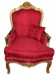 Casa Padrino Barock Sessel Rot Muster /Gold - Antik Stil Möbel