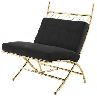 Casa Padrino Luxus Klappstuhl Gold / Schwarz 75 x 81, 5 x H. 92 cm - Luxus Möbel