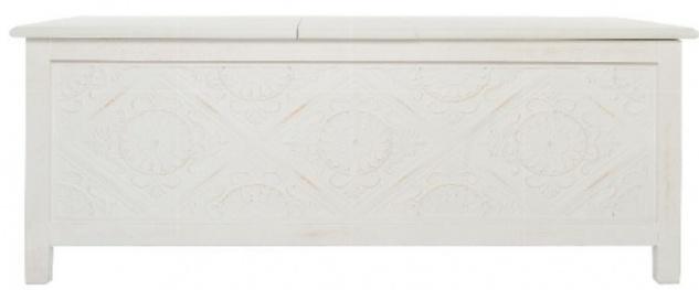 Casa Padrino Landhausstil Couchtisch / Truhe Antik Weiß 115 x 60 x H. 45 cm - Handgefertigter Wohnzimmertisch mit Stauraum - Vorschau 2