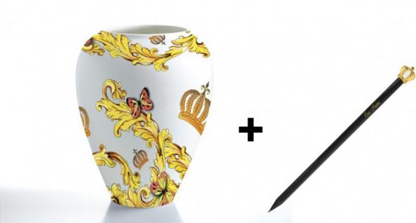 Harald Glööckler Porzellan Vase Rococo + Luxus Bleistift von Casa Padrino mit Goldkrone - Barock Dekoration