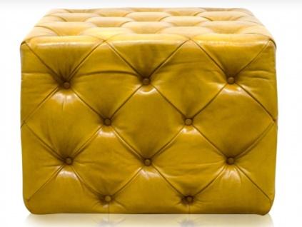 Casa Padrino Luxus Echtleder Fußhocker Vintage Gelb 64 x 64 x H. 46 cm - Chesterfield Möbel - Vorschau 3