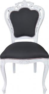 Casa Padrino Barock Esszimmer Stuhl ohne Armlehnen Schwarz / Antik Weiß - Designer Stuhl - Luxus Qualität