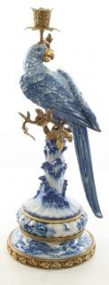 Casa Padrino Jugendstil Kerzenständer mit Papagei Blau / Weiß / Gold 22, 1 x 18, 6 x H. 49, 4 cm - Jugendstil Porzellan Deko Kerzenhalter