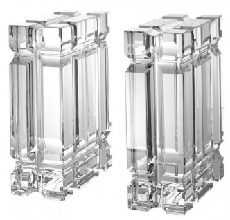 Casa Padrino Luxus Bücherstützen Set Säulen Kristall Glas - Bücherstütze - Book End Buchstützen