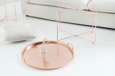 Casa Padrino Luxus Couchtisch Klappbar - Tablett Kupfer B.56 cm x H.48 cm x T.56 cm - Wohnzimmer Salon Tisch - Vorschau 2