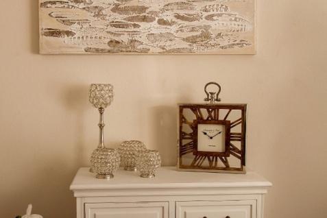 Casa Padrino Luxus Tischuhr / Wanduhr im Design einer antiken Taschenuhr Silber Naturfarben 30 x 5 x H. 40 cm - Dekorative Uhr mit einem Ziffernblatt aus unbehandeltem Holz - Vorschau 4
