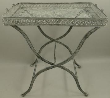 Casa Padrino Jugendstil Gartentisch Antik Grau 60 x 40 x H. 70 cm - Klappbarer Metall Tisch mit Tragegriffen - Garten & Terassen Möbel