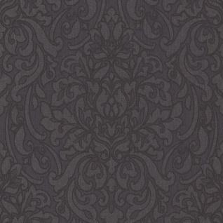 Casa Padrino Barock Textiltapete Anthrazit / Schwarz / Grau 10, 05 x 0, 53 m - Deko Accessoires