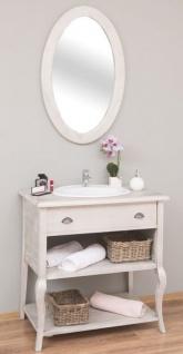 Casa Padrino Landhausstil Badezimmer Set Hellgrau - 1 Waschtisch mit Schublade & 1 Wandspiegel - Landhausstil Badezimmer Möbel