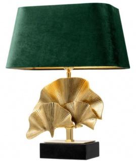 Casa Padrino Luxus Tischleuchte Messingfarben / Schwarz / Grün 41 x 34 x H. 53 cm - Wohnzimmer Tischlampe mit Granitsockel