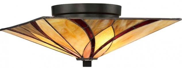 Casa Padrino Luxus Tiffany Deckenleuchte Mehrfarbig 38, 1 x 38, 1 x H. 16, 7 cm - Elegante Tiffany Lampe mit handgefertigtem Glas Lampenschirm - Tiffany Leuchten