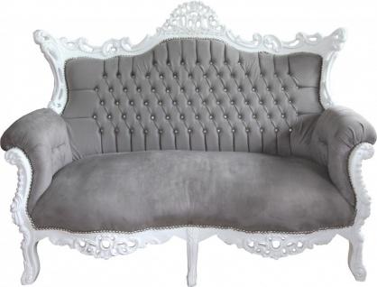 Casa Padrino Barock 2-er Sofa Master Grau / Weiß mit Bling Bling Glitzersteinen - Antik Stil Wohnzimmer Möbel - Limited Edition