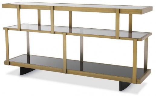 Casa Padrino Luxus Konsole Messingfarben / Schwarz 180 x 46 x H. 91 cm - Edelstahl Schrank mit Glasregalen - Regalschrank - Wohnzimmer Schrank - Büroschrank - Luxus Qualität