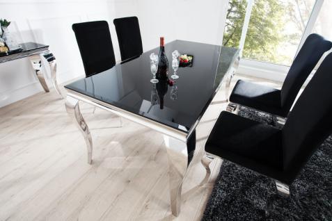 Casa Padrino Luxus Esszimmer Set Schwarz / Silber - Esstisch 180 cm + 4 Stühle - Luxus Qualität - Modern Barock