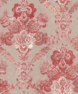 Casa Padrino Barock Textiltapete Silber / Rot 10, 05 x 0, 53 m - Wohnzimmer Deko Accessoires