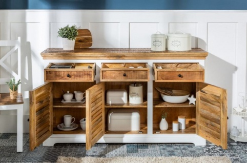 Casa Padrino Landhausstil Sideboard Weiß / Naturfarben 160 x 40 x H. 90 cm - Massivholz Schrank mit 3 Türen und 3 Schubladen - Wohnzimmer Möbel im Landhausstil - Vorschau 4
