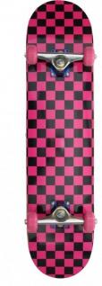Checkered Skateboard Komplettboard Pink/Black - Wheels Pink