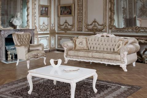 Casa Padrino Barock Sessel Braun / Weiß / Beige 80 x 82 x H. 100 cm - Prunkvoller Wohnzimmer Sessel mit Glitzersteinen - Barockstil Möbel - Vorschau 3