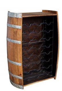 Casa Padrino Designer Stehtisch Weinfass aus Mango Holz - Weinflaschen Ständer für 24 Flaschen