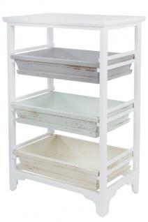 Casa Padrino Landhausstil Regalschrank Weiß / Mehrfarbig 54 x 32 x H. 86 cm - Handgefertigter Shabby Chic Regalschrank mit 3 Fächern - Vorschau 3