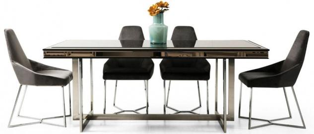 Casa Padrino Luxus Esszimmer Set Schwarz / Grau / Silber - 1 Esszimmertisch & 6 Esszimmerstühle - Luxus Esszimmer Möbel