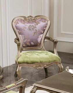 Casa Padrino Luxus Barock Sessel Lila / Grün / Silber 62 x 60 x H. 103 cm - Wohnzimmer Sessel mit Blumenmuster - Edel & Prunkvoll