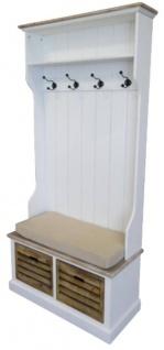 Casa Padrino Landhausstil Garderobe Antik Weiß / Naturfarben 92 x 40 x H. 189 cm - Handgefertigte Garderobe mit Sitzbank und Körben - Vorschau 2